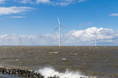 Offshore windmill park Royalty Free Stock Image