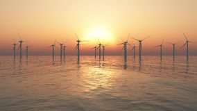 Offshore windmills Royalty Free Stock Photography