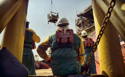 Offshore worker at south angsi lifting operation Stock Photo