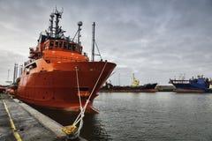 Offshorehafen in Esbjerg, Dänemark Stockbilder