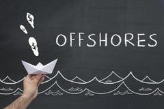 Offshores-Konzept auf Tafel stockbild