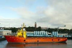 Offshoreschiff Edda Sprint in Esbjerg, Dänemark. Stockbilder