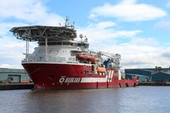 Offshoreunterstützungsschiff Harkand Atlantis, Leith Stockbild