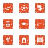 Offspring icons set, grunge style. Offspring icons set. Grunge set of 9 offspring vector icons for web isolated on white background Royalty Free Stock Photography