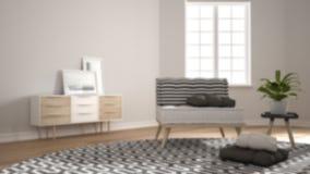 Offuschi l'interior design del fondo, il salone minimalista scandinavo con grande tappeto rotondo ed il sofà con i cuscini, inter fotografia stock libera da diritti