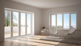 Offuschi l'interior design del fondo, il salone minimo con il tappeto della poltrona, il pavimento di parquet e la finestra panor fotografia stock