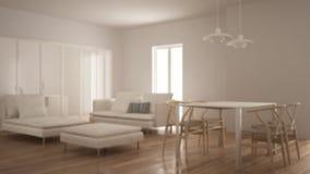 Offuschi l'interior design del fondo, il salone pulito moderno con il portello scorrevole ed il tavolo da pranzo, il sofà, il pou illustrazione di stock
