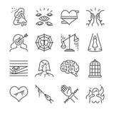 Ofiary napastowanie i winić wykładamy ikona set Zawrzeć ikony smutne, więzi, cel, i więcej gdy kobieta, ofiara, cierpi ilustracji