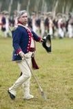 Oficial continental na passagem e na revisão no 225th aniversário da vitória em Yorktown, um reenactment do cerco de Yorktown Foto de Stock