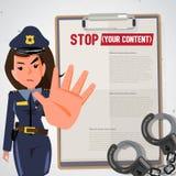 Oficial de polícia As mulheres da polícia sustentam a mão no gesto da parada char ilustração do vetor