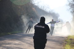 Oficial de polícia na ação Imagem de Stock Royalty Free