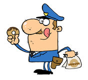 Oficial de polícia feliz que come a filhós Imagem de Stock Royalty Free