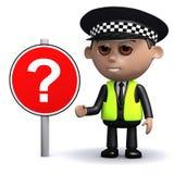 oficial de policía 3d con la señal de tráfico del signo de interrogación Foto de archivo libre de regalías