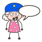 Oficial Granny Giving de la historieta un ejemplo del vector de la orden ilustración del vector