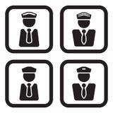 Oficial, piloto ou o outro ícone pessoal em quatro variações Imagens de Stock
