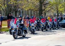 Oficiales de Indiana Police en las motocicletas fotografía de archivo libre de regalías