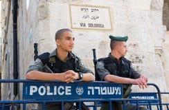 Oficiales de policía en Jerusalén Fotos de archivo libres de regalías