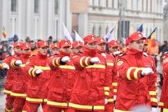 Oficiales del bombero en un evento nacional Imagen de archivo libre de regalías