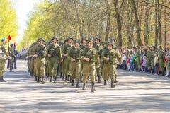 Oficiales rusos en el desfile en ocasión de las celebraciones de Victory Day el 9 de mayo Imagen de archivo