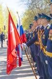 Oficiales rusos en el desfile en ocasión de las celebraciones de Victory Day el 9 de mayo Fotografía de archivo libre de regalías