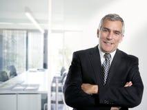 Oficina blanca interior del hombre de negocios gris del pelo fotos de archivo
