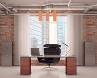 Oficina con una silla negra Imagenes de archivo