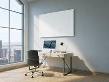Oficina con whiteboard stock de ilustración