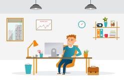 Oficina conceptora plana libre illustration