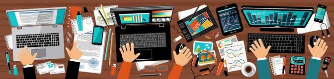 Oficina conceptora plana de la agencia de publicidad ilustración del vector