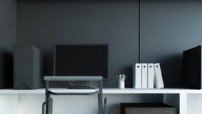 Oficina creativa interior moderna del diseñador con la representación del ordenador 3D de la PC Foto de archivo