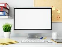 oficina 3D con la pantalla de ordenador en blanco Maqueta Imágenes de archivo libres de regalías