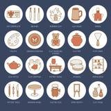A oficina da cerâmica, cerâmica classifica a linha ícones O estúdio da argila utiliza ferramentas sinais Construção da mão, sculp Imagens de Stock Royalty Free