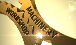 Oficina da maquinaria nas engrenagens metálicas douradas da roda denteada 3d Fotos de Stock Royalty Free