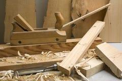 Oficina da obra de carpintaria com ferramentas de madeira Fotografia de Stock