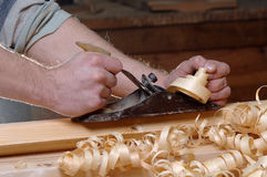 Oficina da obra de carpintaria com madeira Fotografia de Stock Royalty Free
