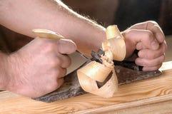 Oficina da obra de carpintaria com madeira Imagens de Stock Royalty Free