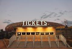 Oficina de boleto cerrada - ningunos boletos - vendida Fotografía de archivo libre de regalías