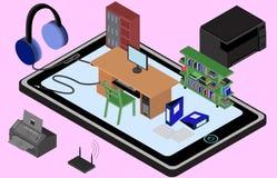 Oficina de Infographic en un teléfono móvil Imagen isométrica del lugar de trabajo con la tabla, guardarropa, estante, impresora, stock de ilustración