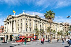 Oficina de los recaudadores de impuestos de Agencia Tributaria en Vell portuario en Barcelona fotografía de archivo