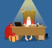 Oficina de Papá Noel Residencia de trabajo en Laponia Gran jefe de la Navidad i stock de ilustración