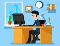 Oficina de trabajo del hombre de negocios en el escritorio con el ordenador Ejemplo del vector en estilo plano libre illustration