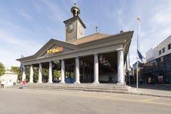 Oficina de turismo en el grande cuadrado del lugar, Vevey, Suiza Imagenes de archivo