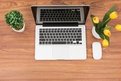 Oficina del espacio de trabajo del ordenador portátil o del cuaderno de la visión superior Fotos de archivo libres de regalías