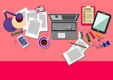Oficina del icono del escritorio del vector de los ordenadores de empresa Imagen de archivo libre de regalías