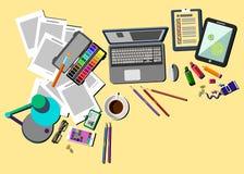 Oficina del icono del escritorio del vector de los ordenadores de empresa Imagen de archivo