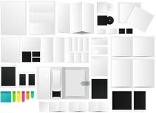 Oficina e icono de la maqueta de papel del espacio de funcionamiento con muchos objetos stock de ilustración
