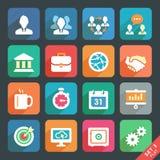 Oficina e iconos planos del negocio. Imagen de archivo libre de regalías