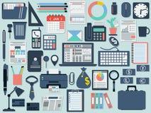 Oficina e iconos planos del negocio Imágenes de archivo libres de regalías