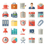 Oficina e iconos planos del negocio para el web, móviles libre illustration