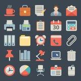 Oficina e iconos planos del negocio para el web, móviles Fotos de archivo libres de regalías